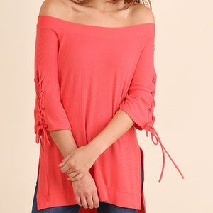 Umgee Off Shoulder Hi Lo Tunic Drawstring Sleeves